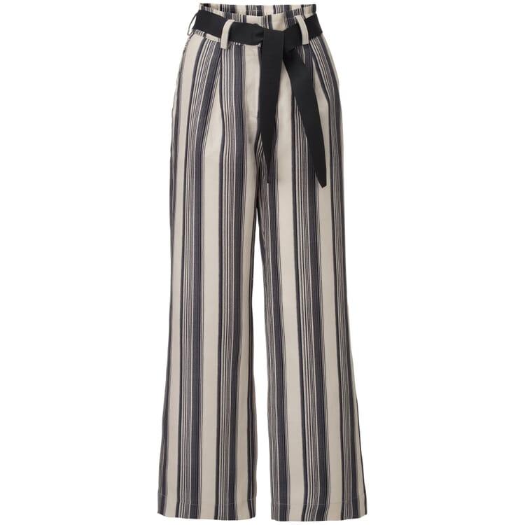 Women's Culotte with Vertical Stripes, Black-Ecru