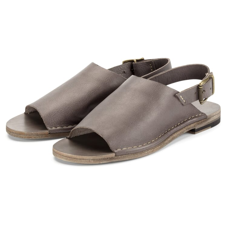 Women's Leather Sandals, Stone Grey