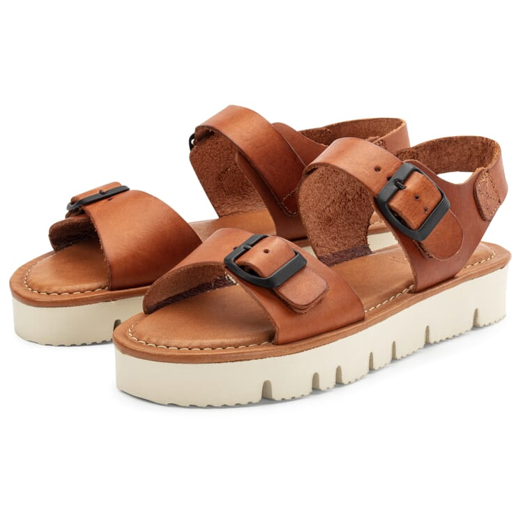 Women's Leather Sandals, Cognac Brown