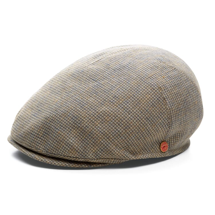 Men's Flat Cap Made of Linen, Taupe