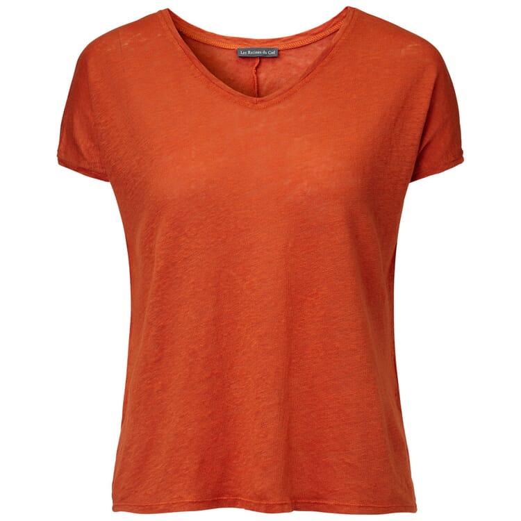 Women's T-shirt Made of Knitted Linen, Orange