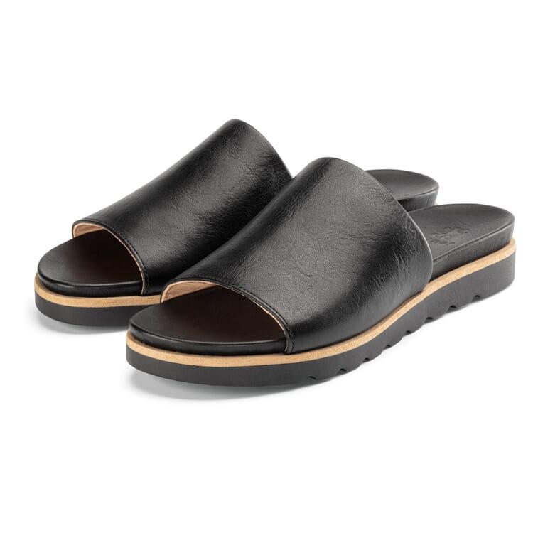 Women's Leather Slides, Black