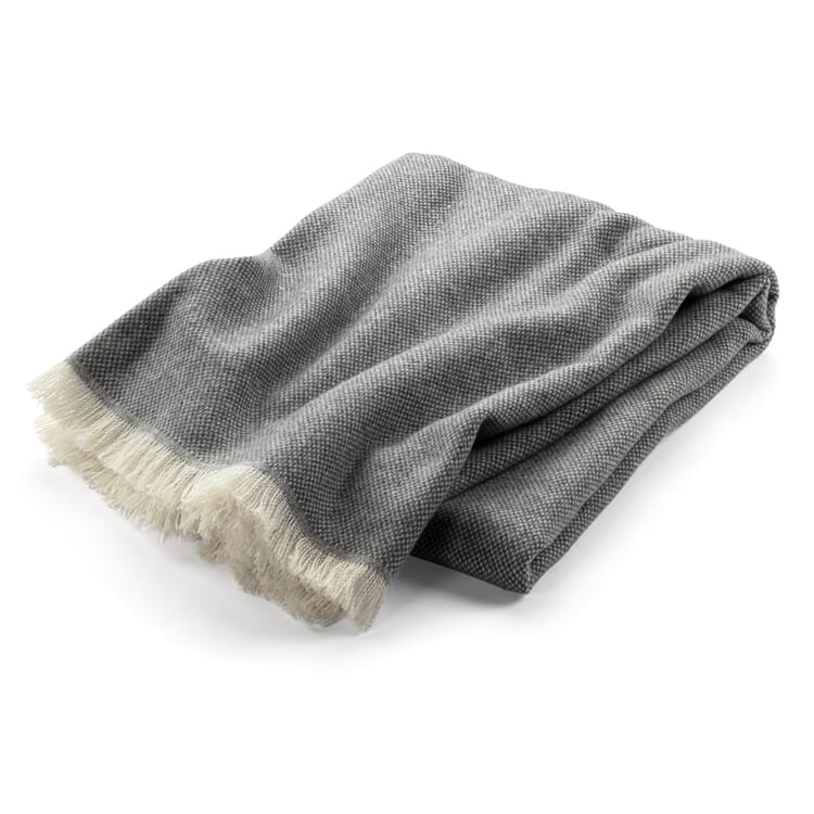 Lambswool blanket Panama weave, Grey