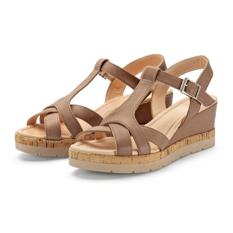 Women's Leather Sandals with Wedge Heel, Beige