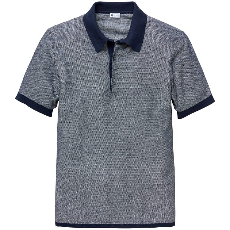 Herren-Poloshirt, Blau-Weiß-Melange