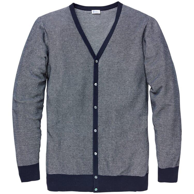 Men's Cardigan, Mottled Blue-White