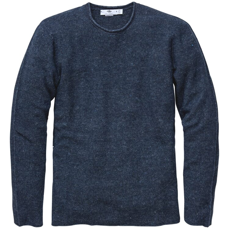 Men's Sweater Knitted from a Linen and Cotton Blend, Blue