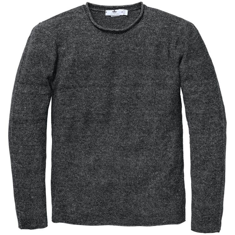 Men's Sweater Knitted from a Linen and Cotton Blend, Grey