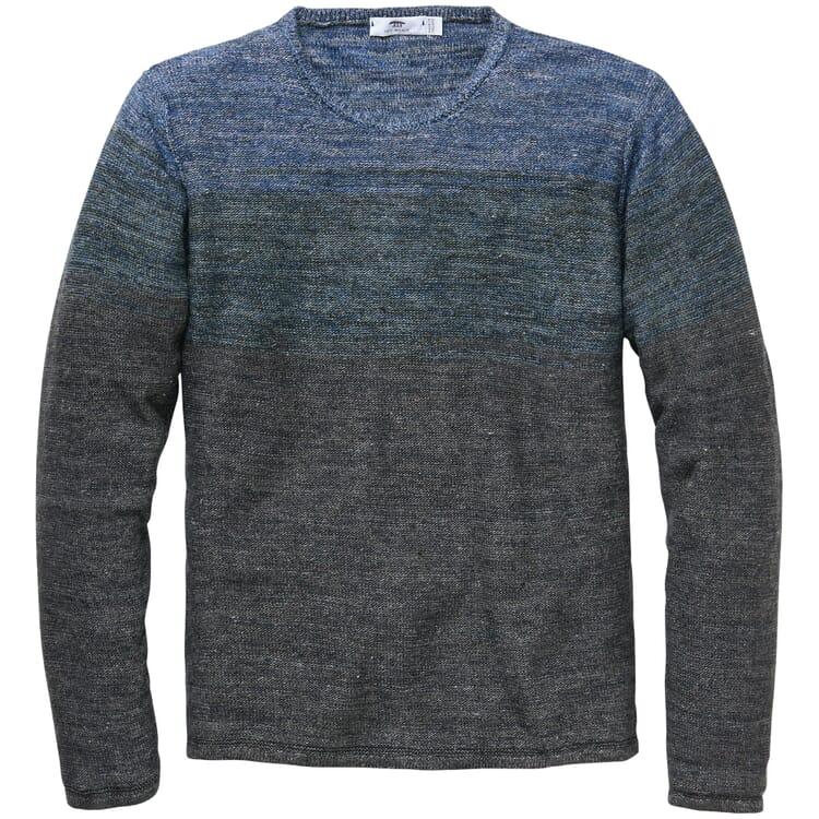 Men's Linen Pullover, Mottled Blue-Grey