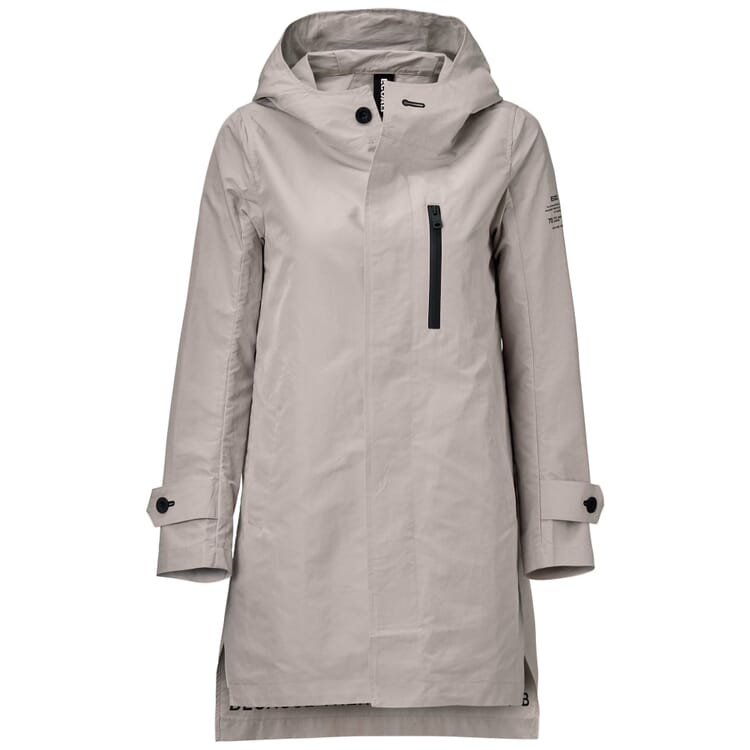Women's Raincoat with a Hood, Stone Grey