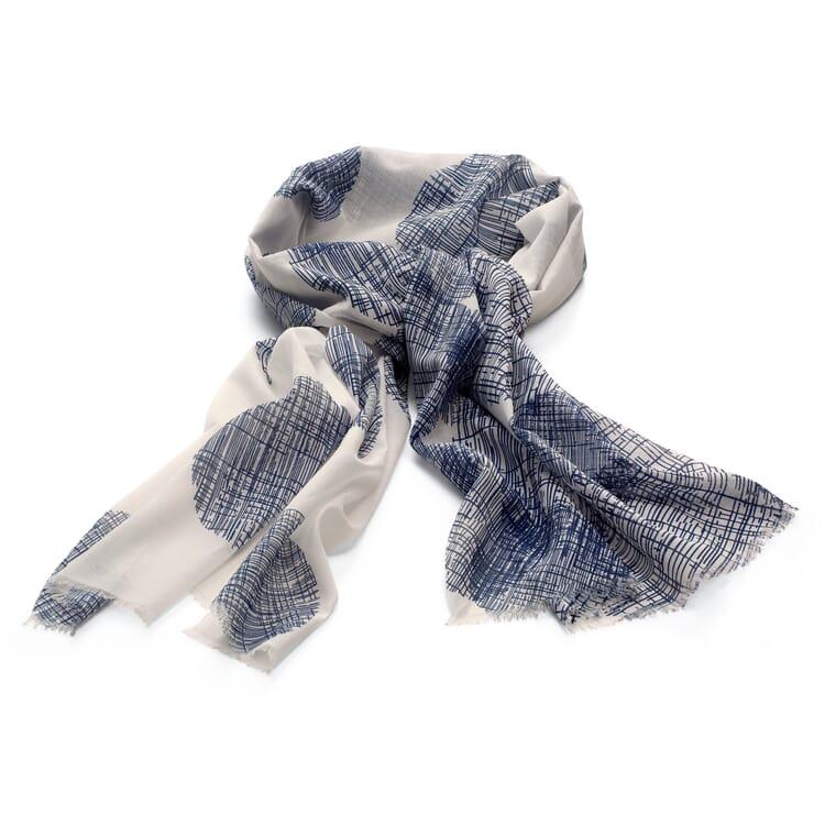 Damenschal Baumwolle Kreis, Weiß-Blau