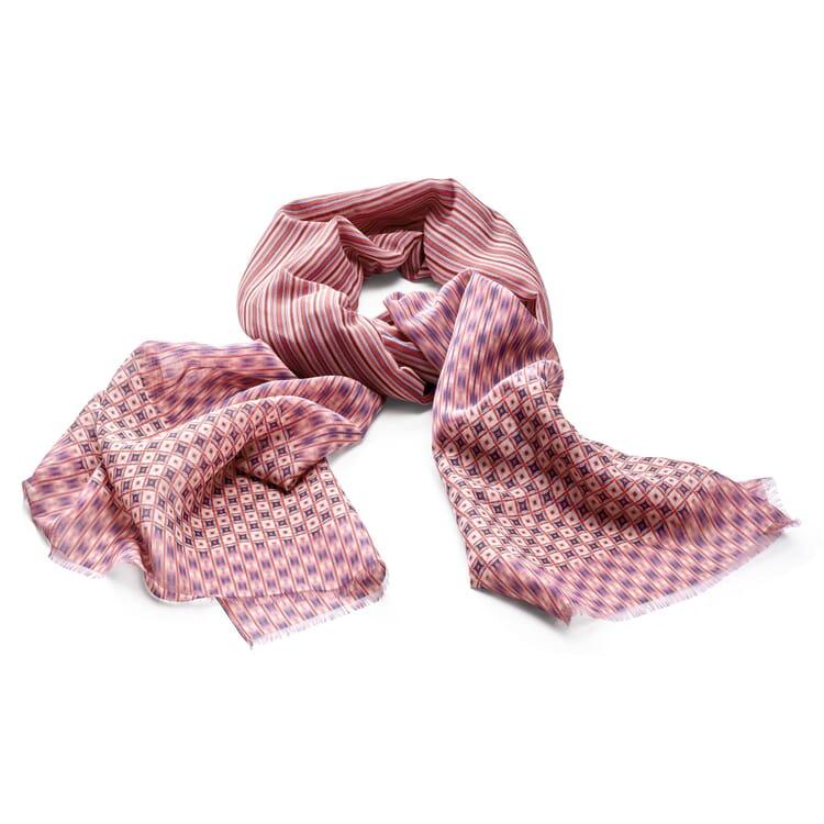 Damenschal Baumwolle-Seide, Rot-Blau