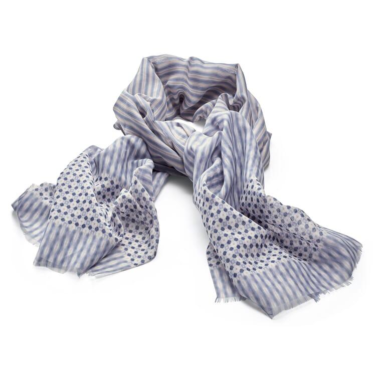 Damenschal Baumwolle-Seide, Blau-Beige