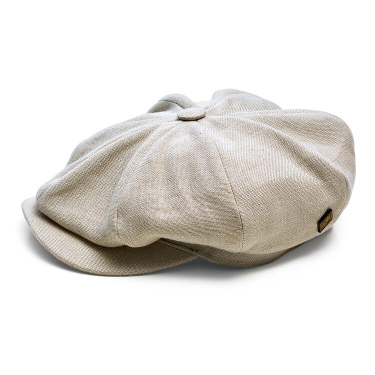 Men's Flat Cap Made of Linen, Sand