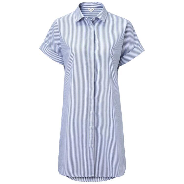Damen-Blusenkleid gestreift, Blau-Weiß