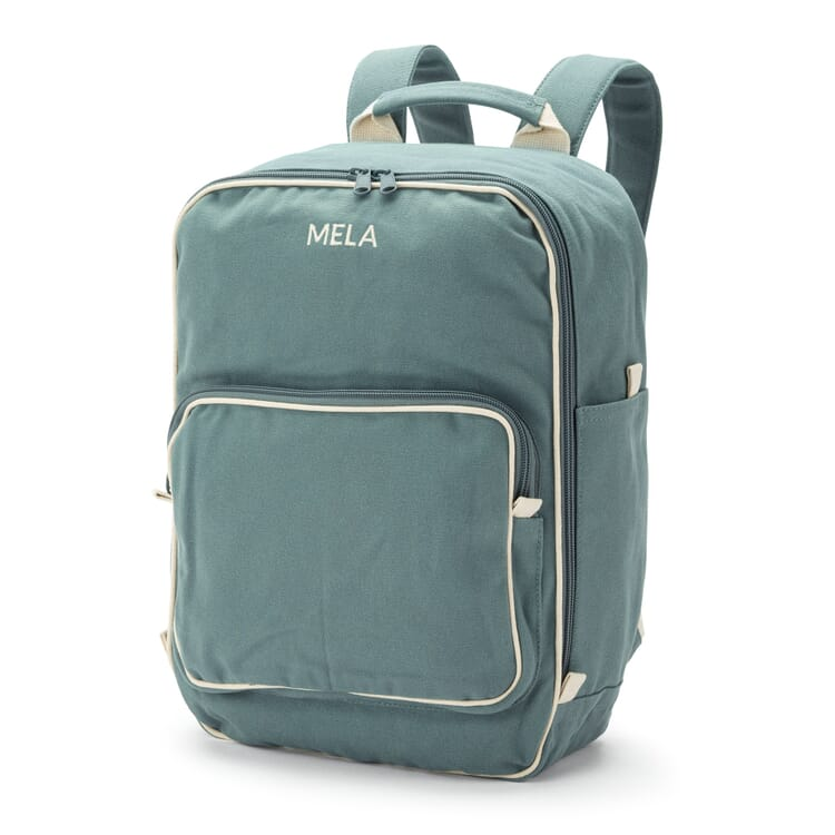 Backpack Made of Cotton Canvas, Green-Grey