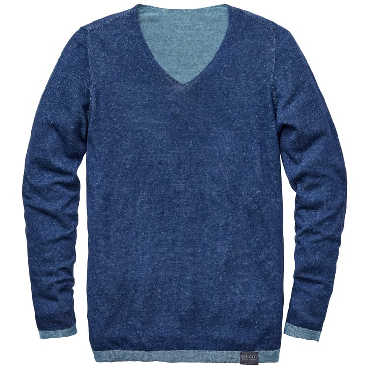 Herrenpullover V-Ausschnitt Mittelblau