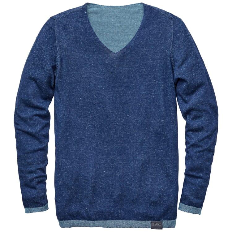 Herrenpullover V-Ausschnitt, Mittelblau
