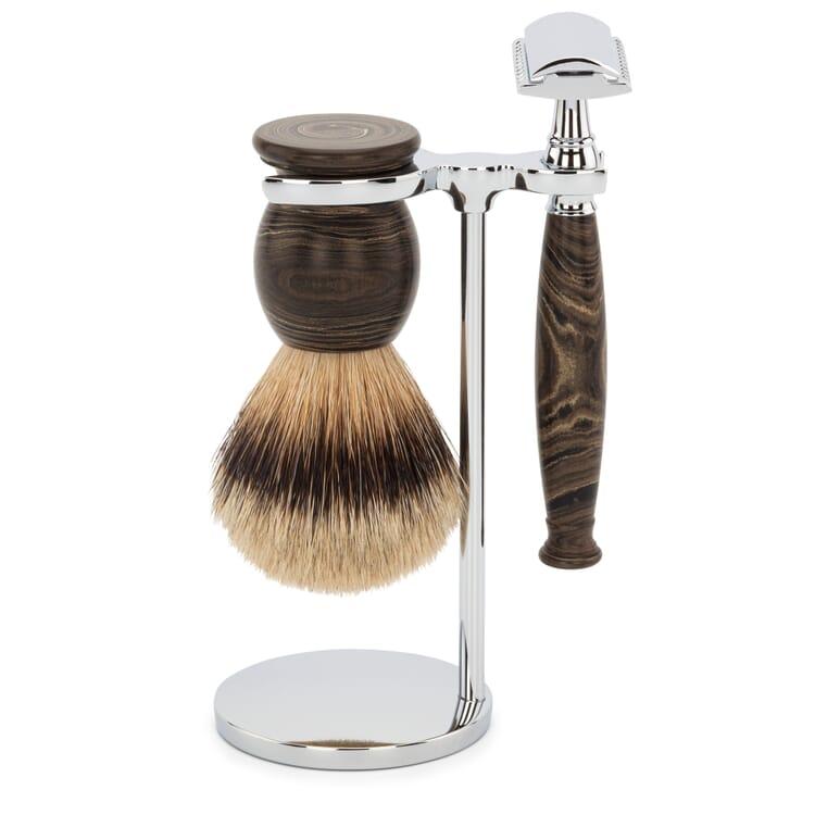 Shaving Gear Set Badger Hair Shaving Brush and Ebonite Straight Razor with Stand, Black-Marbled