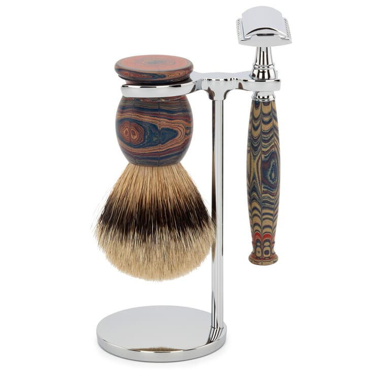 Shaving Gear Set Badger Hair Shaving Brush and Ebonite Straight Razor with Stand, Red-Marbled