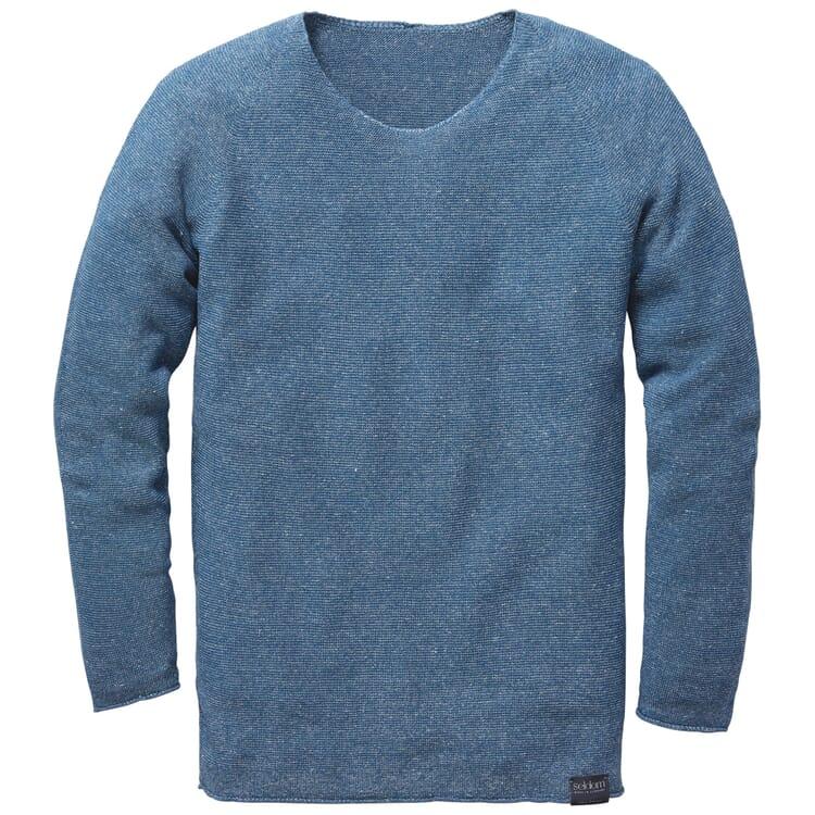Men's Knit Pullover with Garter Stitch, Medium Blue