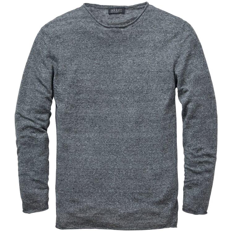 Men's Knitted Linen Sweater, Mottled Grey