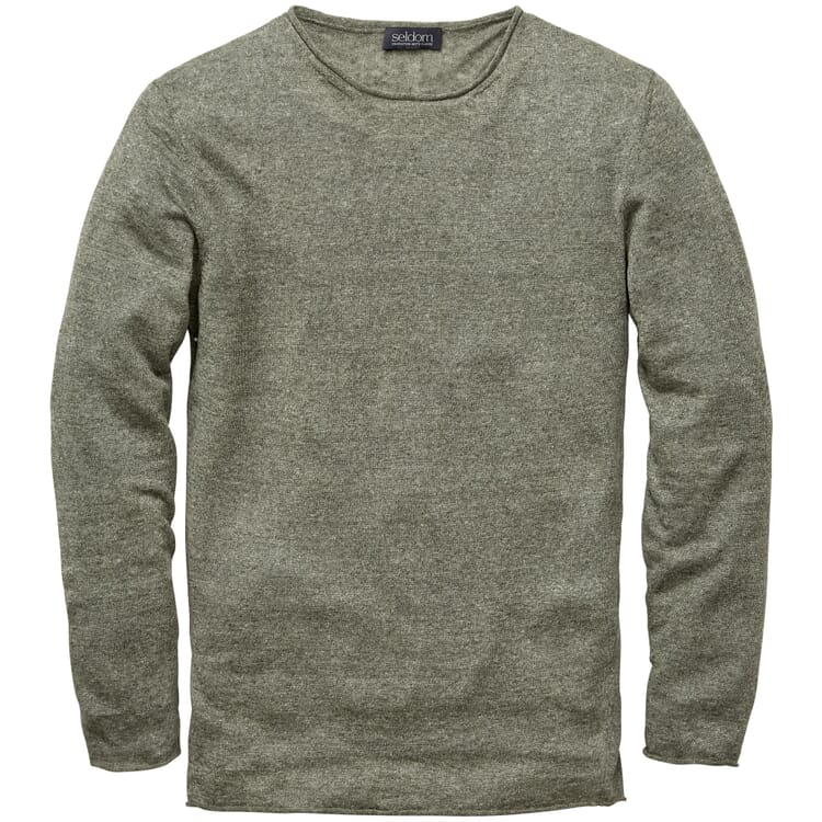 Men's Knitted Linen Sweater, Mottled Green
