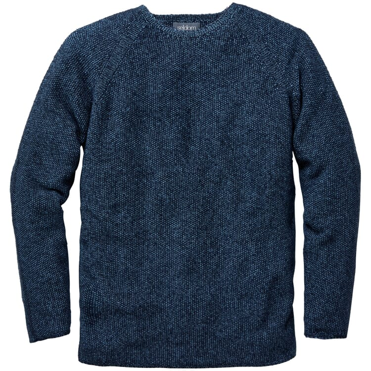 Men's Sweater with a Seed Stitch, Mottled Blue