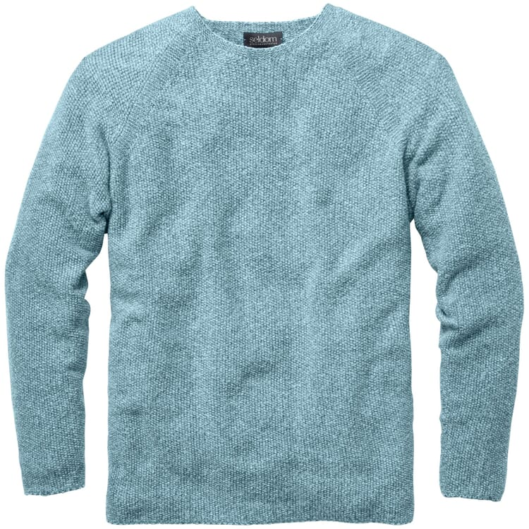 Men's Sweater with a Seed Stitch, Mottled Green