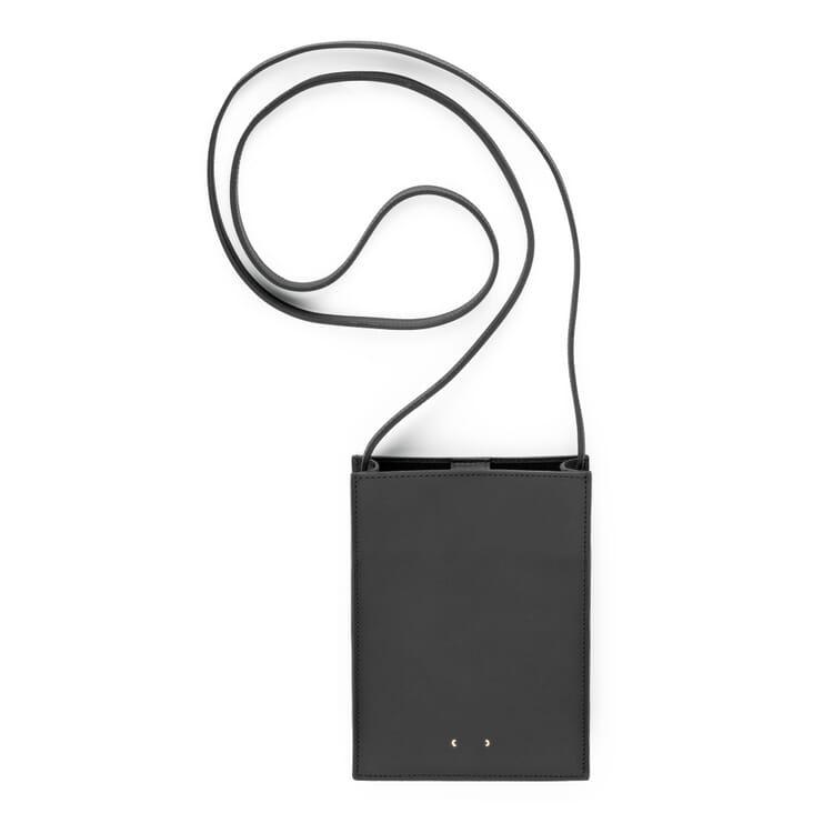 Mobile Phone Bag Made of Cowhide, Black