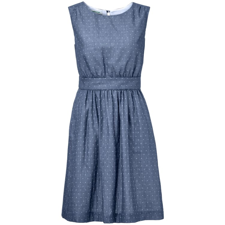Women's Dress with Polka Dots, Blue-White