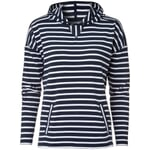 Women's Hoodie Made of Striped Cotton Fabric Navy Blue-White
