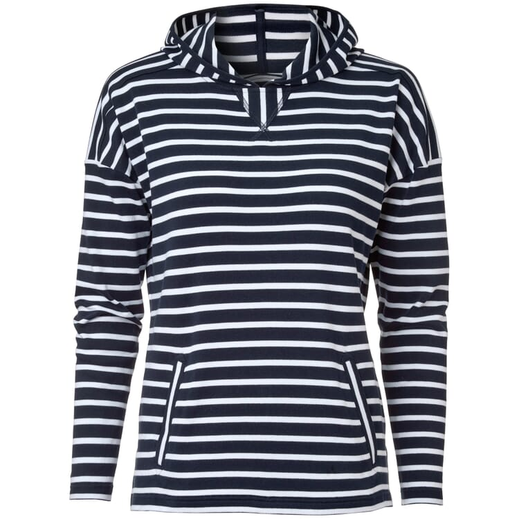Women's Hoodie Made of Striped Cotton Fabric