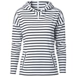 Women's Hoodie Made of Striped Cotton Fabric White-Navy Blue