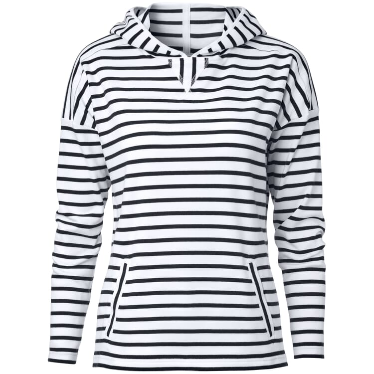 Women's Hoodie Made of Striped Cotton Fabric, White-Navy Blue