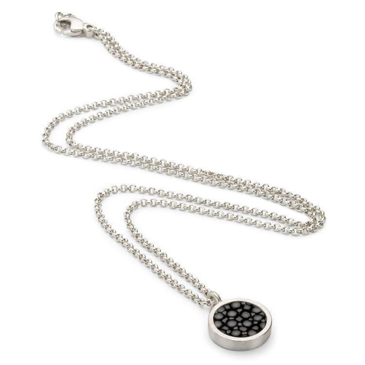 Halskette Silber-Rochenleder, Schwarz