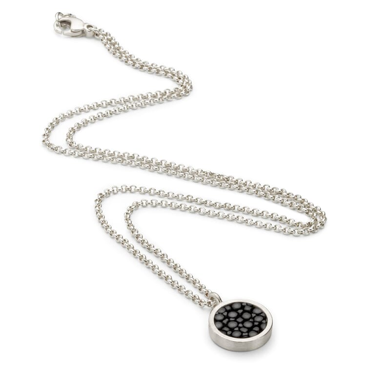 Necklace Made of Silver and Stingray Leather, Black