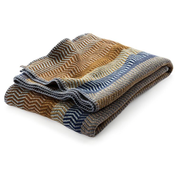 Lammwolldecke Naturtöne Fri, Blau-Braun
