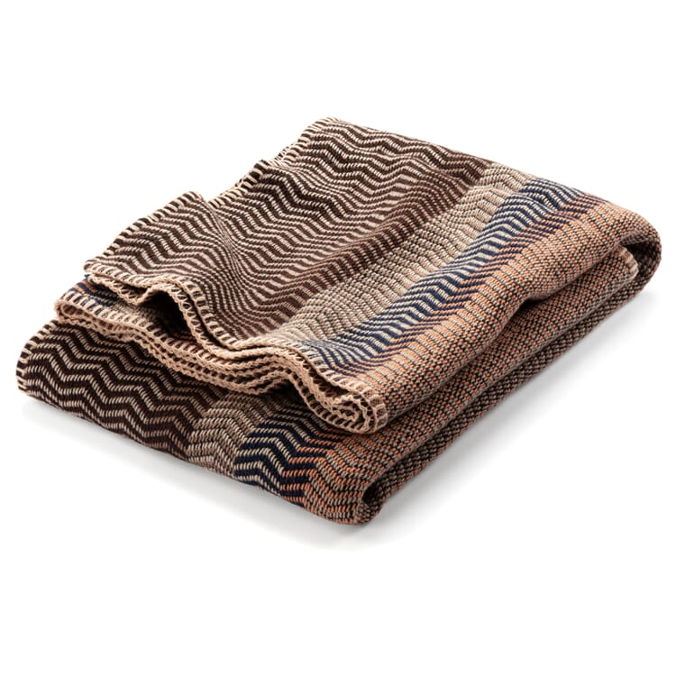"""Lambswool Blanket in Natural Shades """"Fri"""", Sand-Blue"""