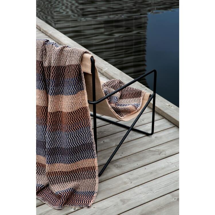 Lammwolldecke Naturtöne Fri, Sand-Blau