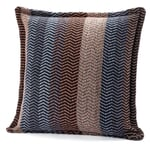 """Pillow Case Made of Lambswool in Natural Shades """"Fri"""" Sand-Blue"""