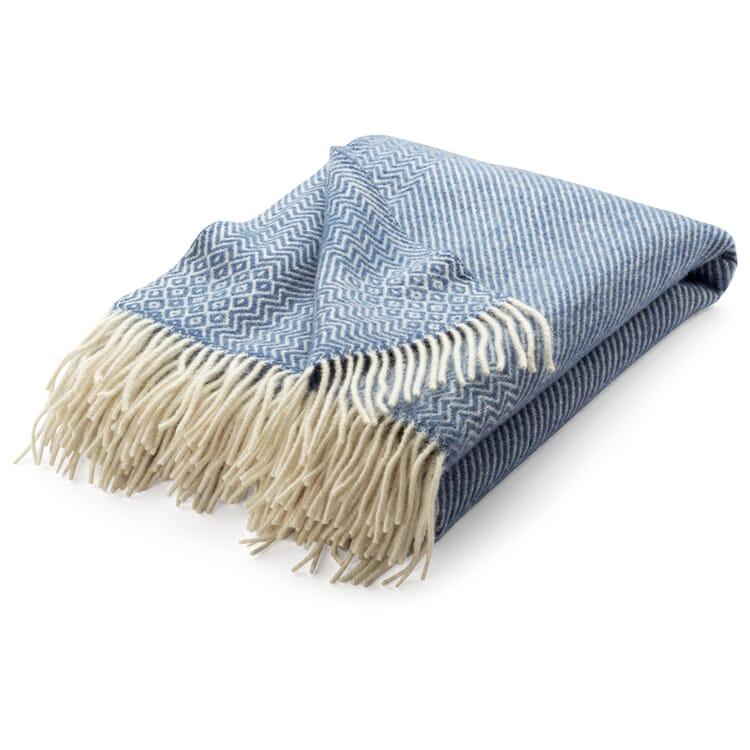 "Lambswool Blanket with Zig-Zag Pattern ""Kattefot"", Lavender Blue"