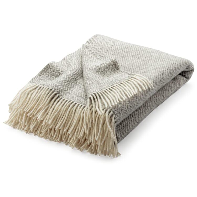 "Lambswool Blanket with Zig-Zag Pattern ""Kattefot"", Light Grey"
