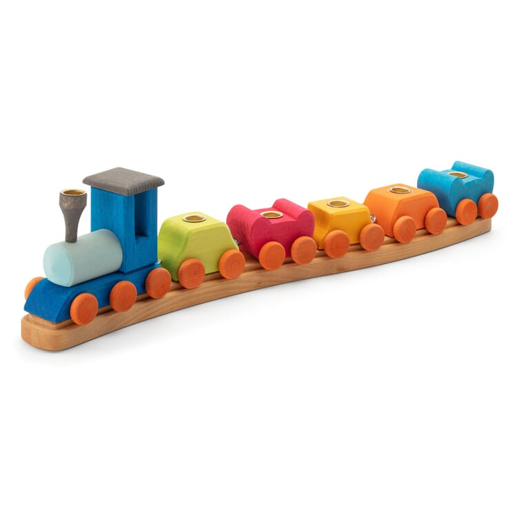 Birthday Decoration Candle Holder Train Made of Lime Wood
