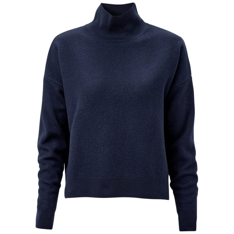 Damen-Wollpullover kurz, Dunkelblau