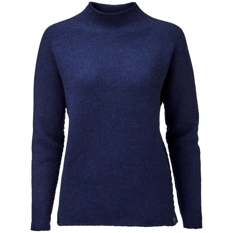 Women's Sweater with a Banded Collar, Blue