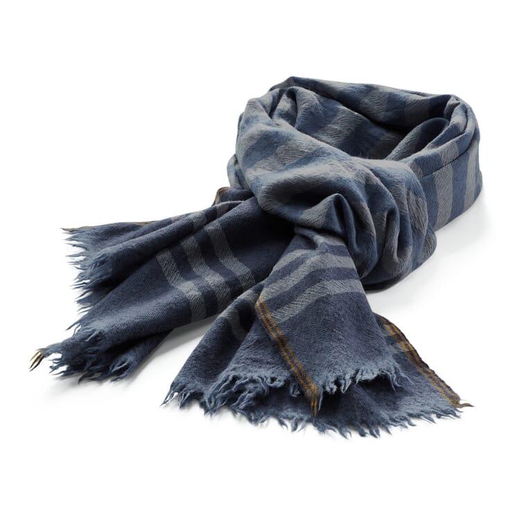 Herrenschal Wolle-Kaschmir, Blau-Grau