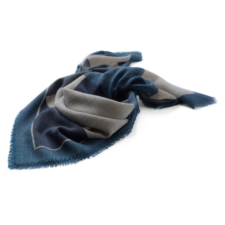 Damen-Halstuch gemustert, Blau-Grau