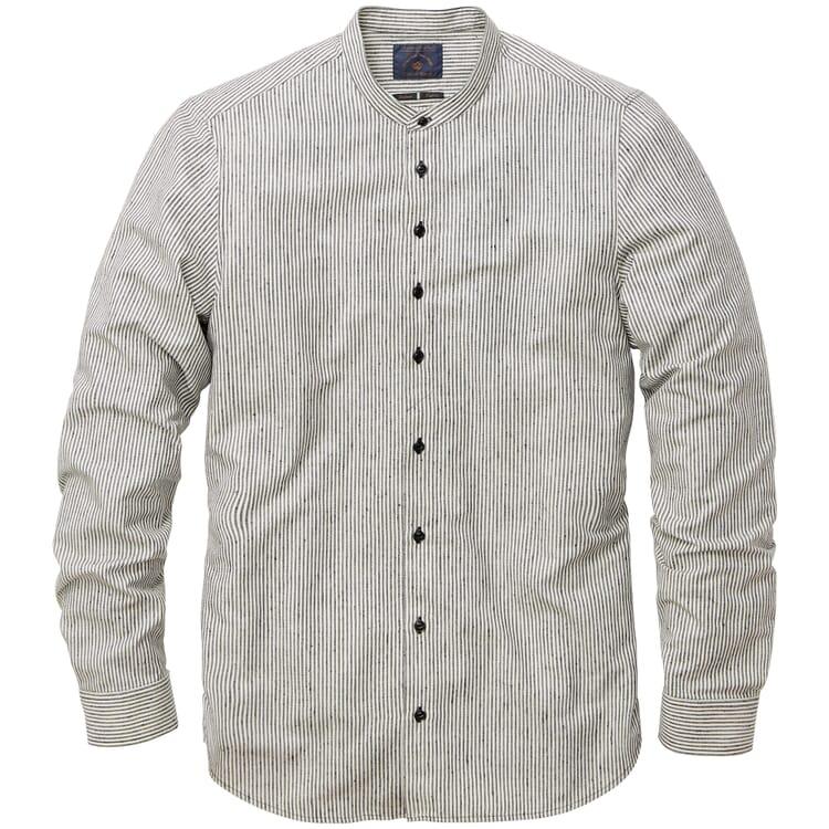 Herren-Streifenhemd, Weiß-Schwarz