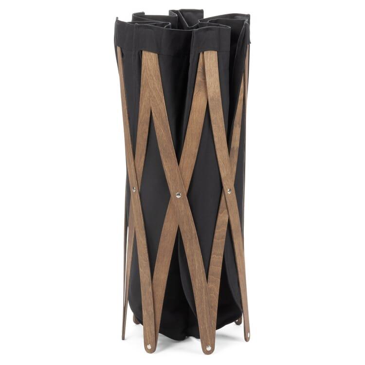Laundry Basket Made of Walnut Wood, Black